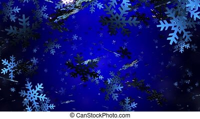 Flying snowflakes in blue on dark