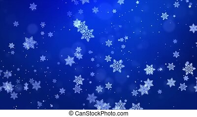 Flying snowflakes on a light Blue loop background. Winter Abstract Falling snow.
