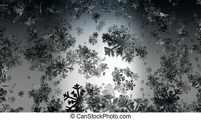 Flying snowflakes on dark