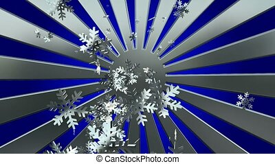 Flying snowflakes with sunburst