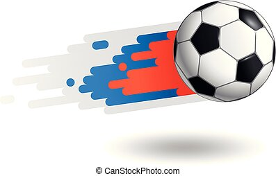 Flying soccer ball isolated on white background