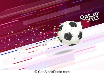 Flying soccer ball on abstract background