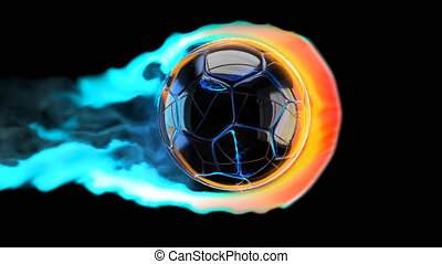 Flying soccer ball on fire on a black background