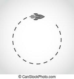Flying space rocket in flat design. Vector illustration.