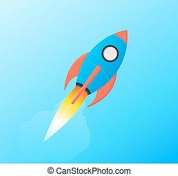 Flying Space Rocket Shuttle Launching in Sky