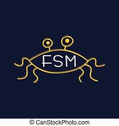 Flying Spaghetti Monster - Atheism Satyr God Parody Vector...