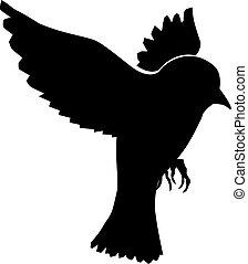 Sparrow Silhouette Flying Hand drawn, ske...