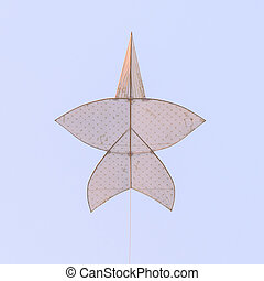 Flying star-shaped kite, Popular Thai traditional culture in summer.