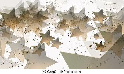 Flying stars in golden color on white