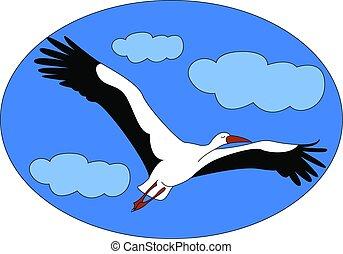 Flying stork, illustration, vector on white background.