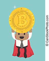 Flying super hero African businessman holding bitcoin