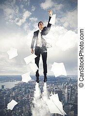 Flying Super hero businessman
