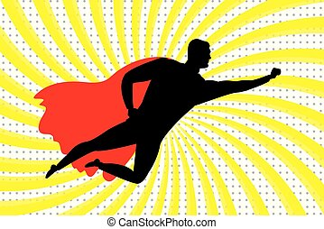Flying Super Hero silhouette