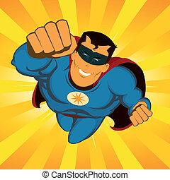 Flying Superhero - Illustration of a happy awesome powerful...