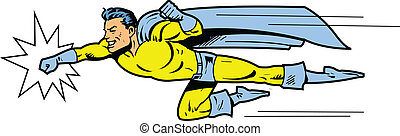 Flying superhero throwing a punch - Flying classic retro...