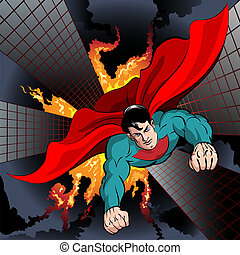 Flying Superhero - Illustration with superhero flying to...