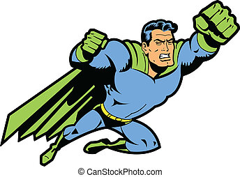 Flying Classic Retro Superhero With Clenched Teeth and Fist Ready To Fight