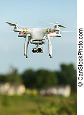 Flying Surveillance Drone - Single surveillance drone flying...