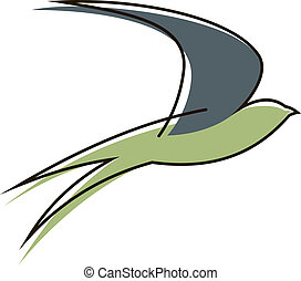 Flying swallow bird - Stylised sketch of the silhouette of a...