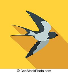 Flying swallow bird icon, flat style