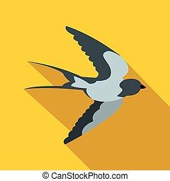Flying swallow bird icon, flat style