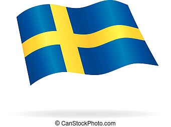 flying Swedish flag of Sweden silk vector