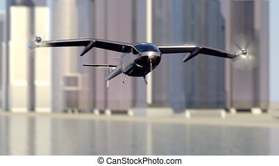 Flying Taxi Drone landing with the city skyline in the...