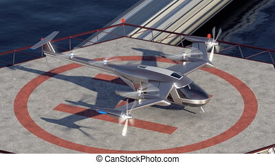 Flying Taxi Drone takeoff with the city skyline in the...