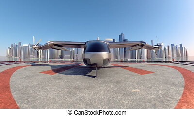 Flying Taxi Drone with the city ckyline in the background, 4k