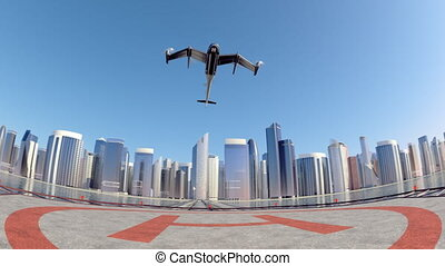 Flying Taxi Drone with the city ckyline in the background,...