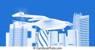 Flying Taxy Drone Blueprint - Flying Taxy Drone Going...