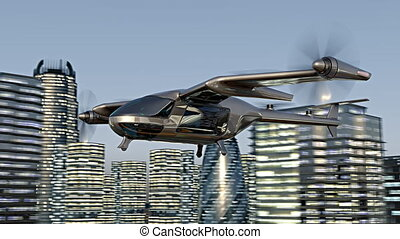 Flying Taxy Drone Going Through the City. 4k 3d animation -...