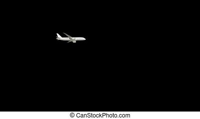 Computer graphics flight of a three dimensional passenger plane in white on a black background HD 1920