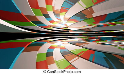 Flying through a colorful tunnel