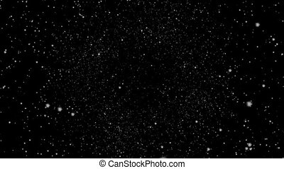 Flying through a star field in outer space.