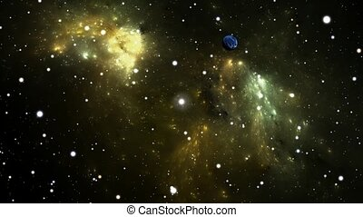 Flying through a starfield in outer space