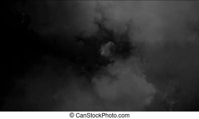 Flying Through Clouds At Night