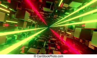 Flying through cube tunnel with glowing neon lines