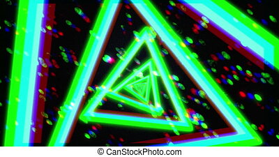 Flying through glowing neon triangles creating abstract tunnel. Green, blue and red spectrum. Modern colorful lighting, 4k seamless loop animation.