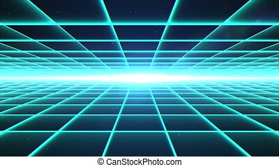 Flying through matrix grid tunnel into space