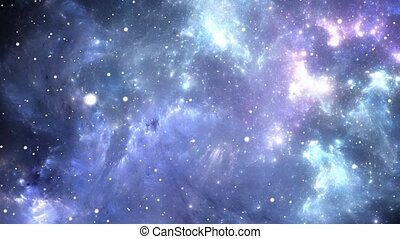 Flying through nebula and star fields in deep space