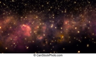 Flying through star fields and nebula in deep space.
