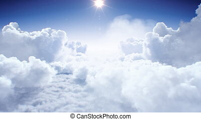 Flying Through the Beautiful Clouds with the Shining Bright Sun Daylight Seamless. Looped 3d Animation Flight Above the Realistic Endless Cloudscape Under the Afternoon Sun. 4k Ultra HD 3840x2160
