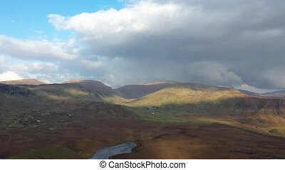 Flying through the bluestack mountains at Meenaguise More in Donegal - Ireland, time lapse
