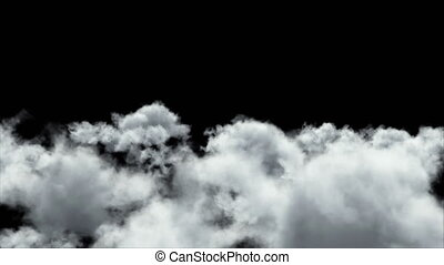 Flying through the clouds. Slow motion. 3D Render.