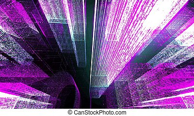 Flying Through the Digital Neon City in telecommunication internet network. 3D rendering.