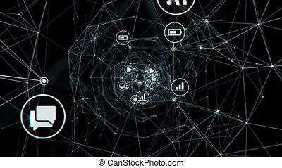 Flying Through the Digital Tunnel of Links with Changing Icons on Black Background. Beautiful Looped 3d Animation. Digital Technology and Information Concept. 4k Ultra HD 3840x2160.