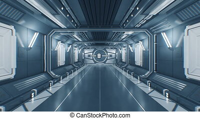 Flying Through the Futuristic Construction Tunnel with Opening Metal Gates and Moving Out to White Light. Abstract Science Fiction 3d Animation with Alpha Matte. 4k Ultra HD 3840x2160