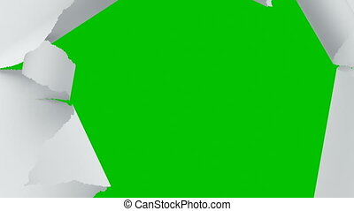 Flying Through the Tearing Paper Sheets on Green Screen. Looped 3d Animation of Sheets of Paper Breaking Through in the Center. 4k Ultra HD 3840x2160.