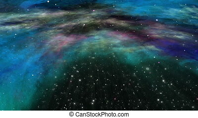 Flying Through Universe Nebula and Star Field - Traveling...